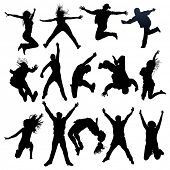 stock photo of exaltation  - jumping and flying people silhouettes - JPG