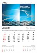 January 2013 A3 calendar - vector illustration