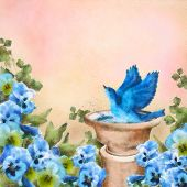 image of bluebird  - Romantic pastel watercolor and drawing garden scene - JPG