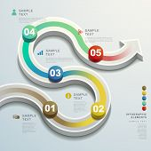 foto of flow  - modern vector abstract 3d arrow flow chart infographic elements - JPG