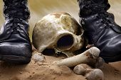 foto of iraq  - Victory and war abstract with skull and military shoes - JPG