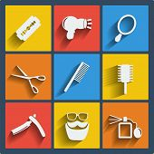 picture of razor  - Set of 9 hairdress vector web and mobile icons in flat design - JPG