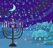 picture of menorah  - Winter Christmas scene  - JPG