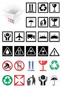 image of fragile sign  - Vector illustration set of different packing symbols - JPG