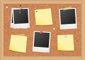 Vector illustration of bulletin board with blank notes and photos. All objects are isolated. Colors