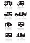 stock photo of camper-van  - Caravan or camper van symbol vector illustration set - JPG