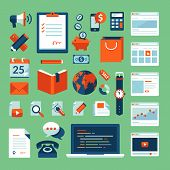 picture of e-business  - Flat design vector illustration concept icons set - JPG