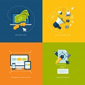 stock photo of strategy  - Icons for pay per click internet advertising - JPG