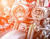 foto of headlight  - brilliant headlight motorcycle in sunlight - JPG