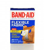 IRVINE, CA - January 21, 2013: 20 count box of Band-Aid Brand Ashesive Bandages, Flexible Fabric. Th