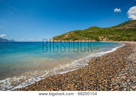 Pebble Beach At Bussaglia On West Coast Of Corsica