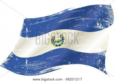 waving Salvadoran grunge flag. A waving flag of  el salvador with a grunge texture