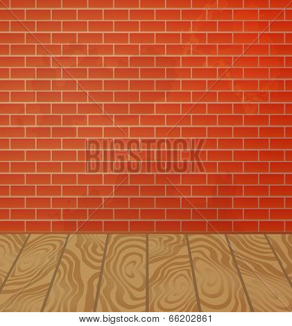 Brick wall and wooden floor interior