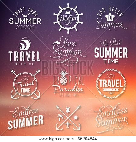Sunset background with labels for summer design.
