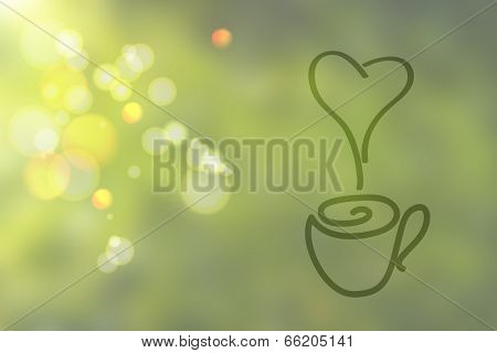 Green abstract blurred background with hand-drawing cup and heart