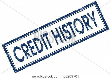 Credit History Blue Square Grungy Stamp Isolated On White Background