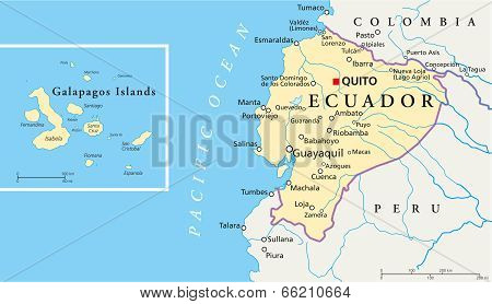Ecuador and Galapagos Islands Political Map