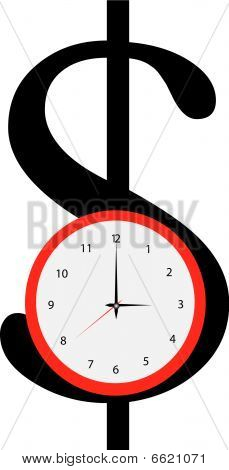 Dollar And Red Clock