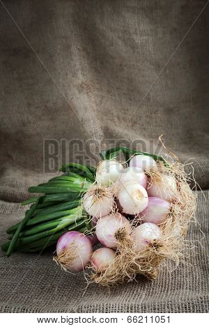 Onions And Carrots On Wooden Background And Sack