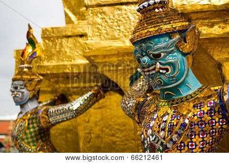 The Golden Pagoda And Yak Statue