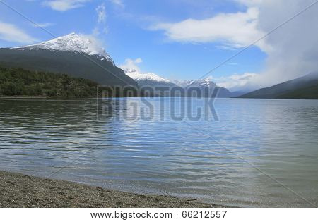 Patagonian Landscape With Lake And Mountains