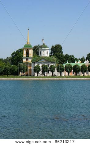 Old Orthodox Church in Kuskovo a pond (Russia)