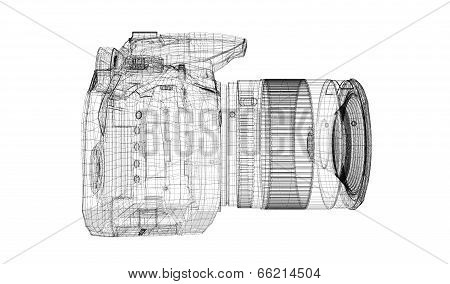 Black digital camera isolated