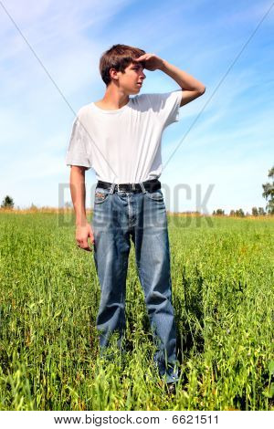 teenager in field