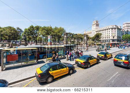 Bus Stop At Plaza De Catalunya In Barcelona