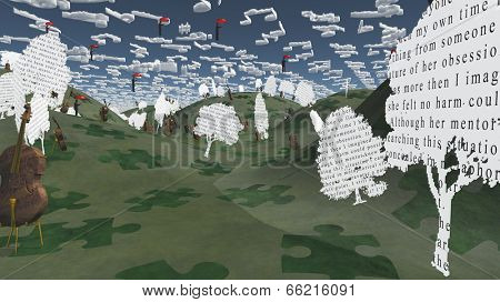 Paper trees with text and Cellos sit in hilly landscape with Musical Notes for Clouds