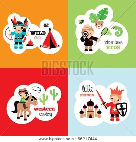 Boys fantasy theme retro bedroom wall poster set cowboy prince jungle adventure and indian wild child in vector