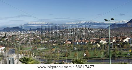 Panoramic view of Santiago de Chile from the suburbs in San Carlos de Apoquindo district