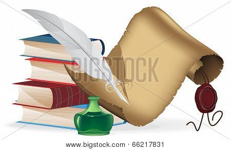 Books, Feather And Old Paper Scroll