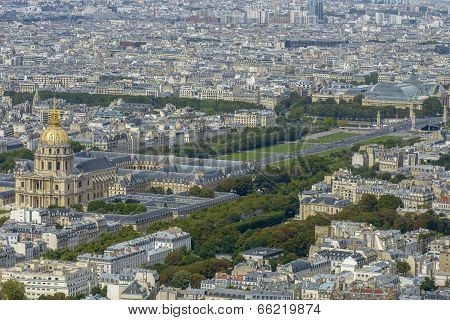 Aerial View Of Les Invalides And Pont Alexandre Iii Taken From Montparnasse Tower