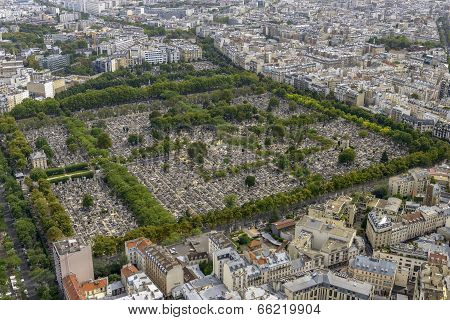Aerial View Of Pere Lachaise Cemetery Taken From Montparnasse Tower