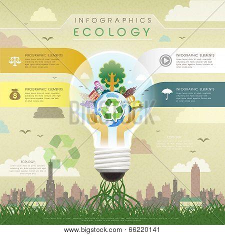 Flat Design Ecology Bulb Infographics