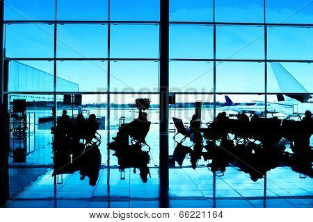 Airport interior. Contrast silhouettes.