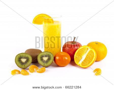 Freshly Squeezed Fruit Juice Isolated Over A White Background