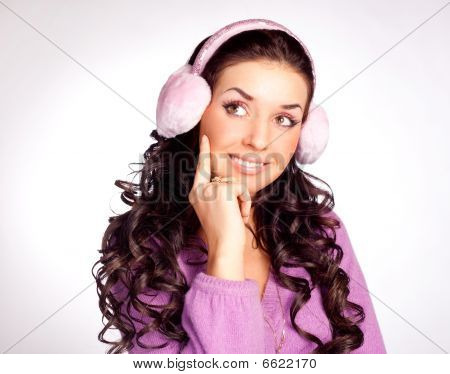 Thoughtful Girl With Earmuff