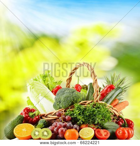 Wicker Basket With Groceries
