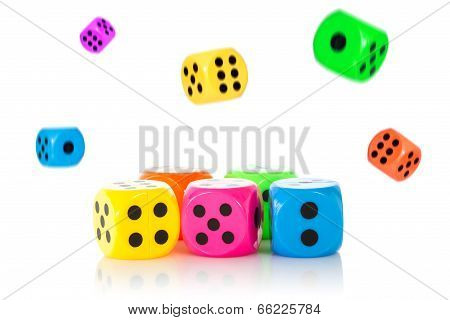 Pile Of Falling Dices With The Front Ones In Focus