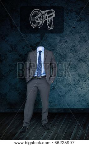 Composite image of headless businessman with megaphone doodle against dark grimy room