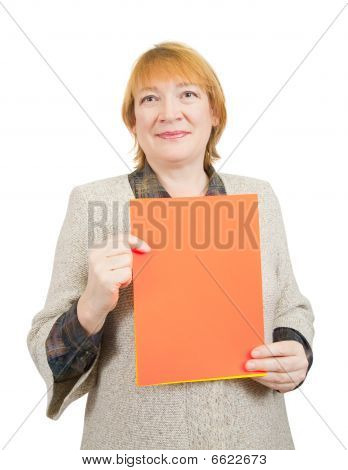 Senior Woman Holding On Empty Red Poster