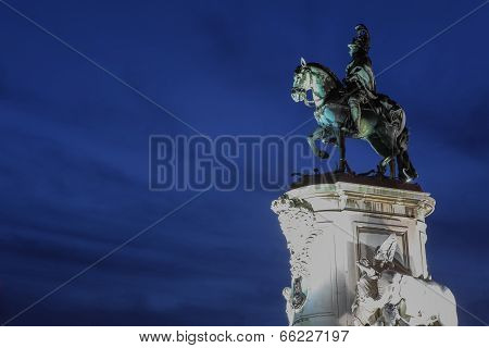 Statue Of King Jose I At Praca Do Comercio In Lisbon