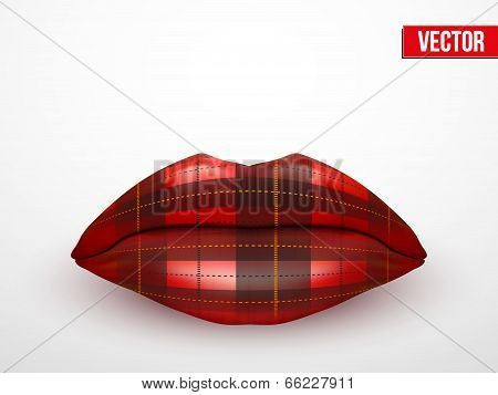 Beautiful luscious lips. Vintage texture Vector Illustration.