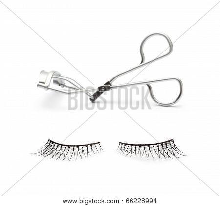 fake false eyelash with eyelash curler on white background