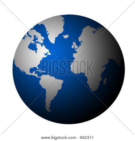 Planetenerde - grau weiß