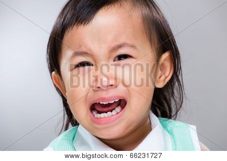 Multiracial baby girl cry