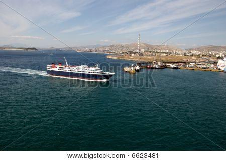 Ship In The Port Of Piraeus