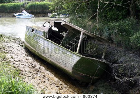 An Old Sunken Shipwrecked Boat